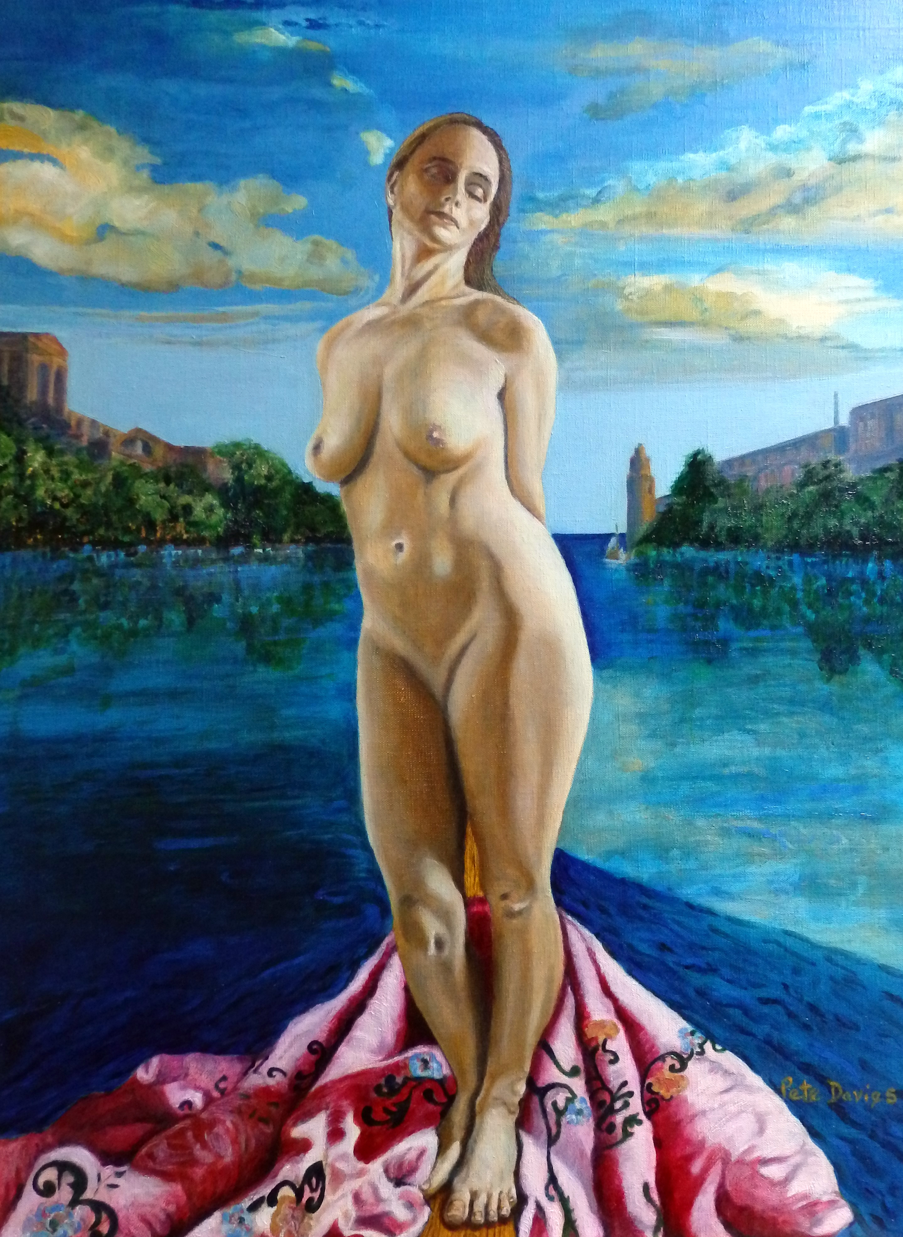 nude woman on a boat