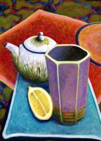 ceramic, plate, teapot, vase, lemon, tray, place setting