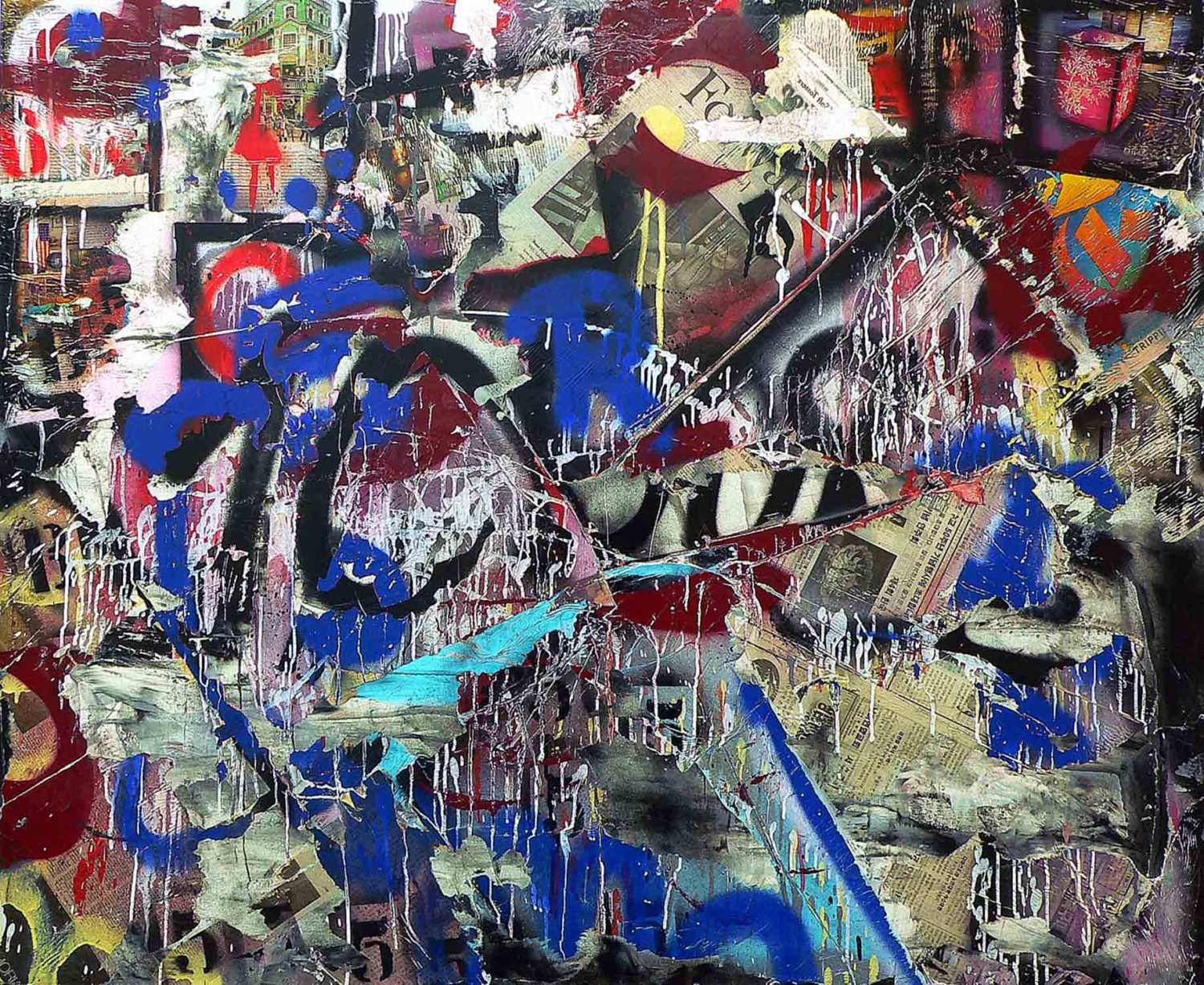 it never entered my mind - 116 x 140 cm - acrylic, spray paint and mixed media collage on canvas - 2010