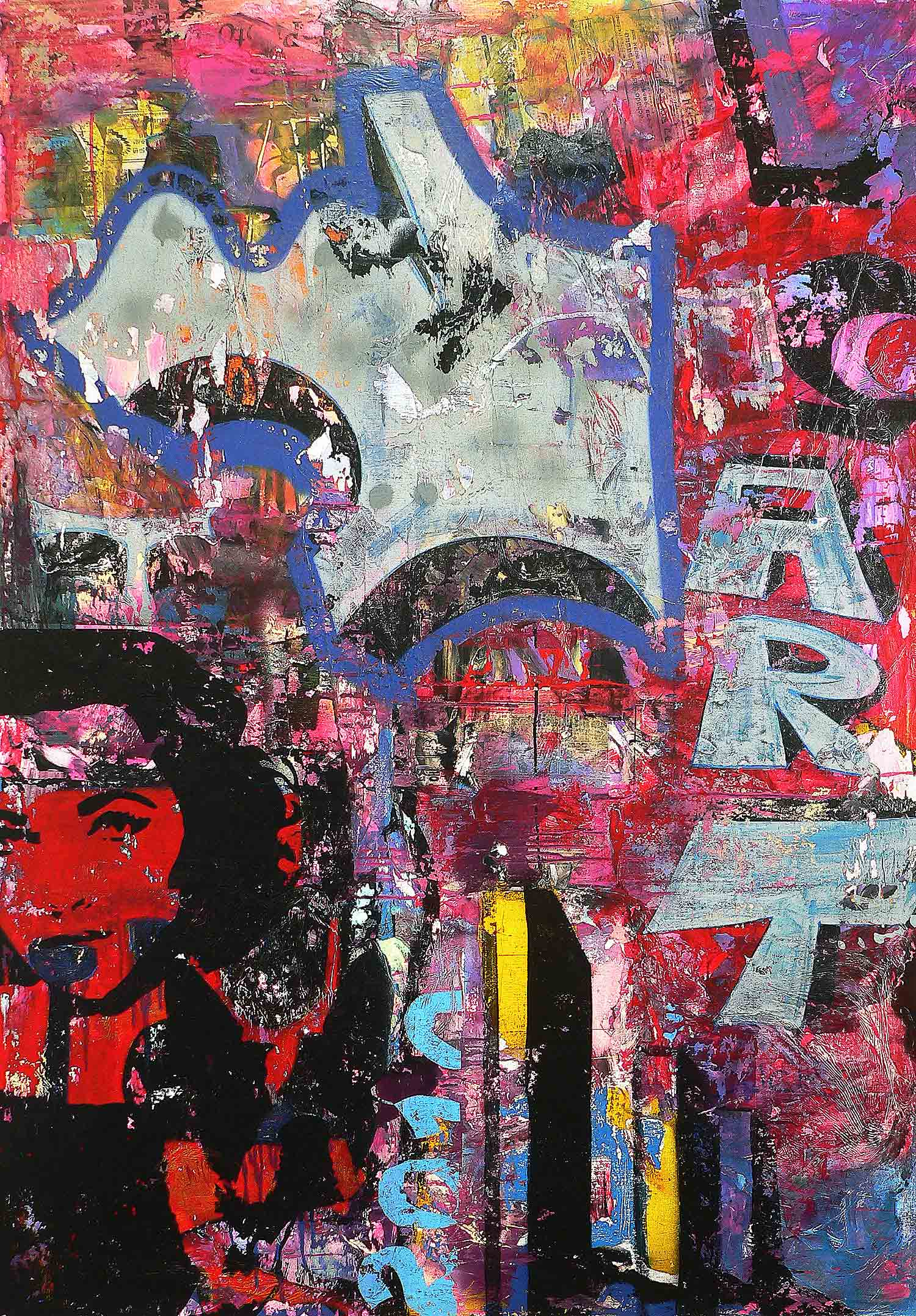art - 170 x 120 cm - acrylic, spray paint, markers and collage on canvas - 2010