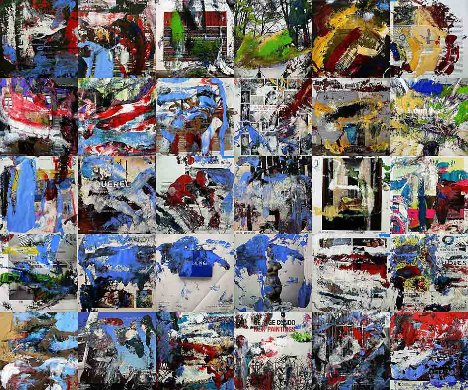 artforum 0512 - 26 x 26 cm each (30 parts) - acrylic and mixed media on artforum magazine pages mounted on wood boxes - 2012