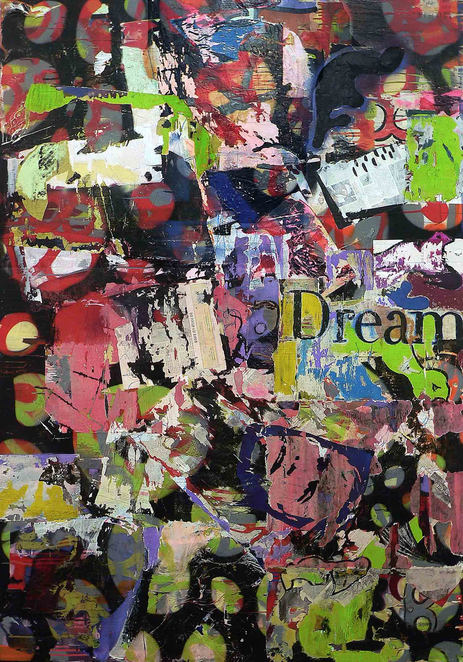 dream - 200 x 140 cm - acrylic, spray paint, markers and collage on canvas - 2010