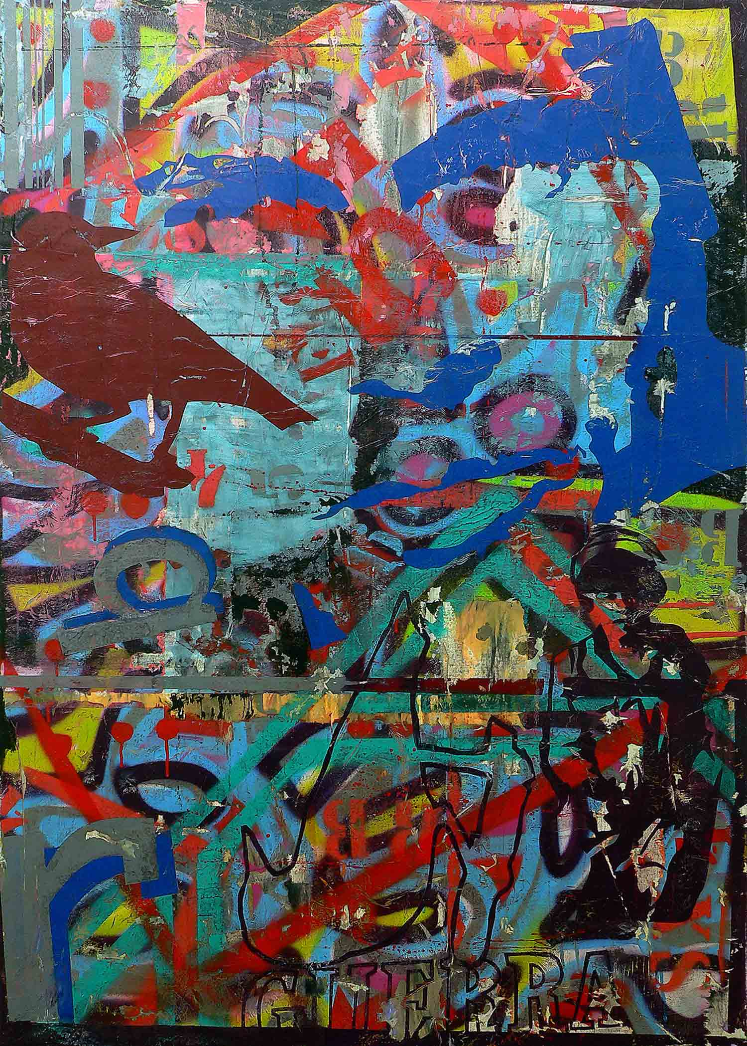 guerra - 168 x 120 cm - acrylic, spray paint and collage on canvas - 2010