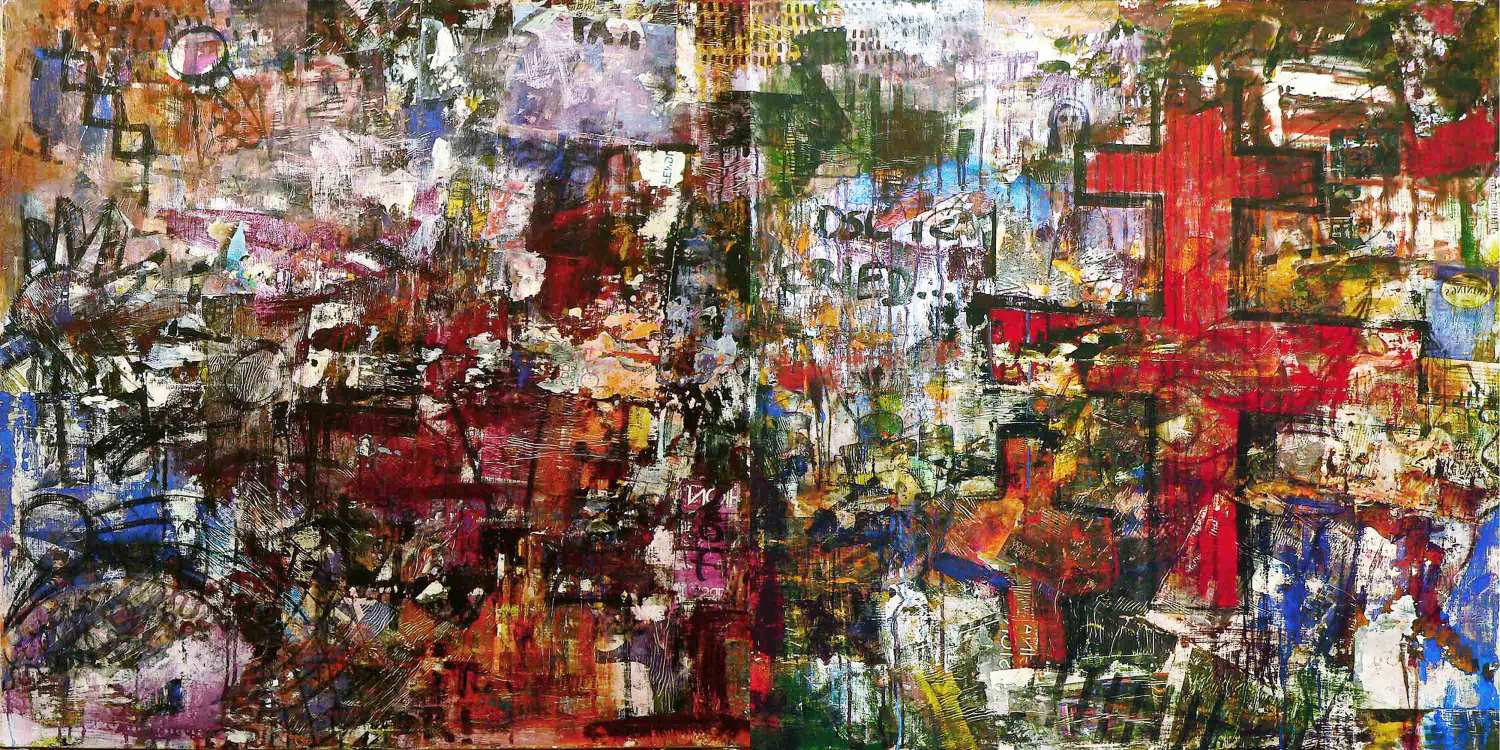 if i should fall behind - 110 x 230 cm - acrylic, spray paint and mixed media collage on canvas - 2011