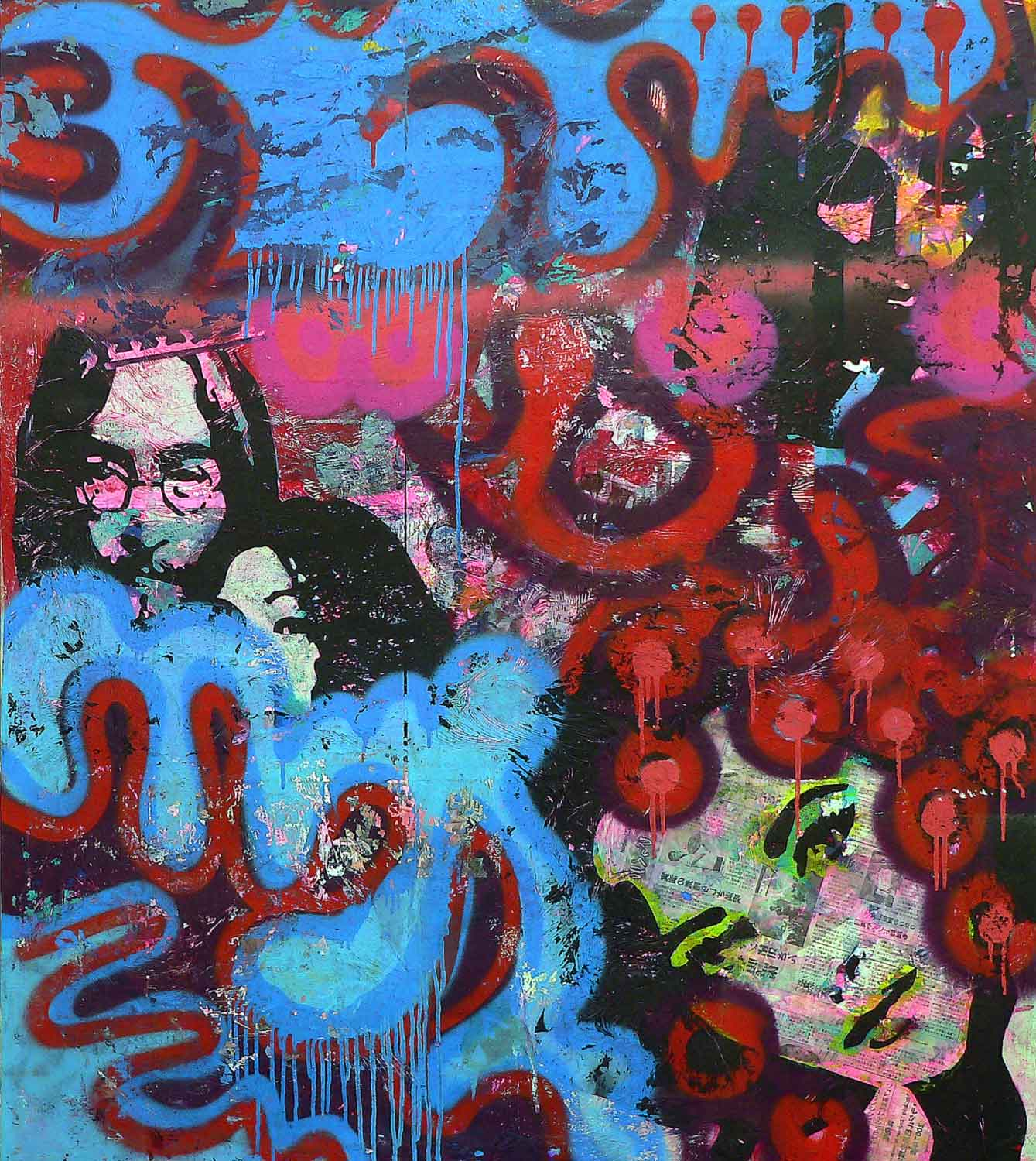 lennon - 130 x 115 cm - acrylic, spray paint, markers and collage on canvas - 2010