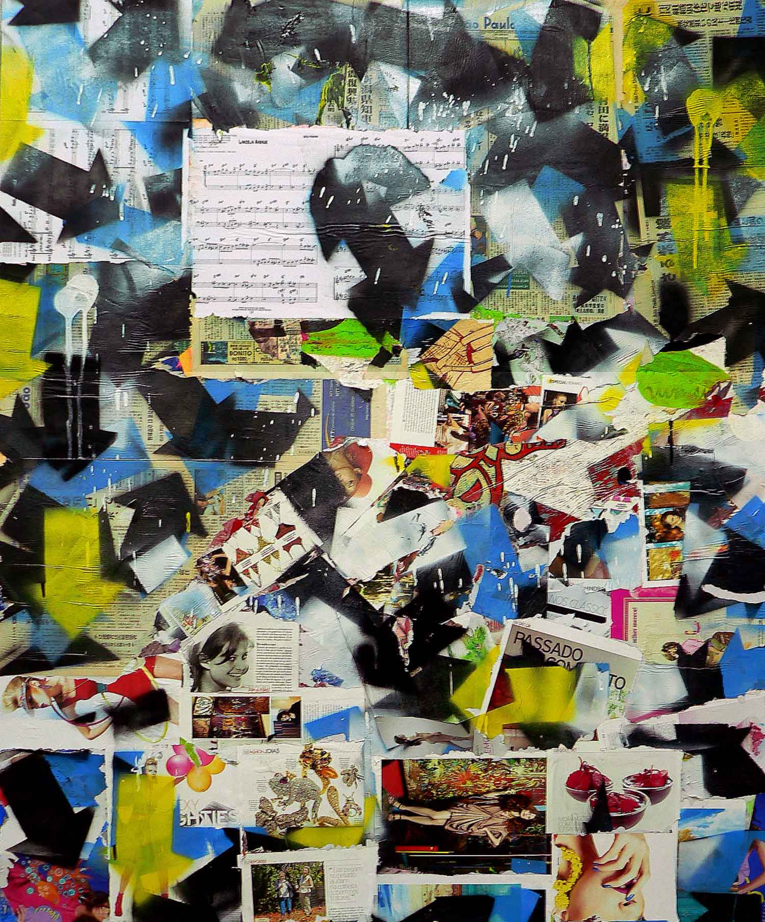 passado - 180 x 120 cm - spray paint, markers and collage on canvas - 2010