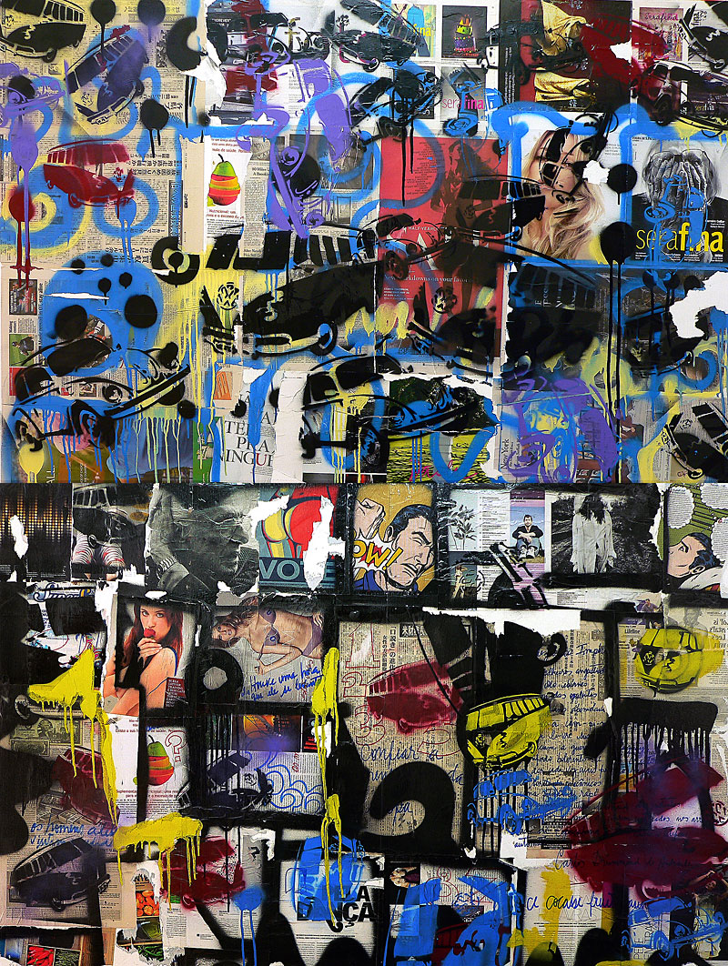 serafina - 230 x 170 cm - spray paint, markers and collage on canvas - 2010