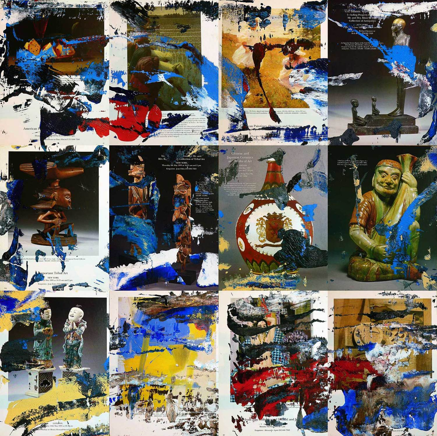 sotheby´s 0212 - series 1 - 29 x 22 cm each (12 parts) - acrylic on sotheby´s catalogue pages mounted on wood boxes - 2012