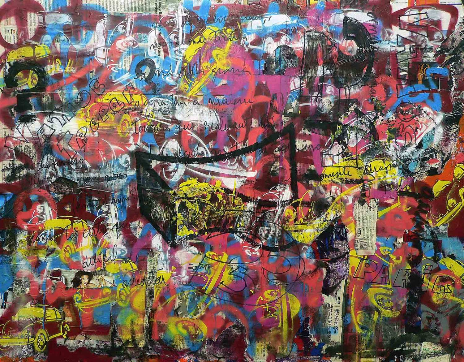 vamos trepar? - 145 x 203 cm - spray paint, markers and collage on canvas - 2010