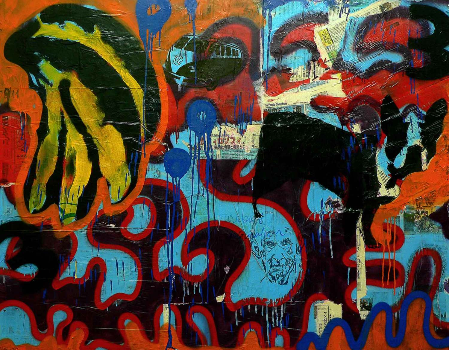 untitled - 130 x 165 cm - acrylic, spray paint, marker pen and collage on canvas - 2010