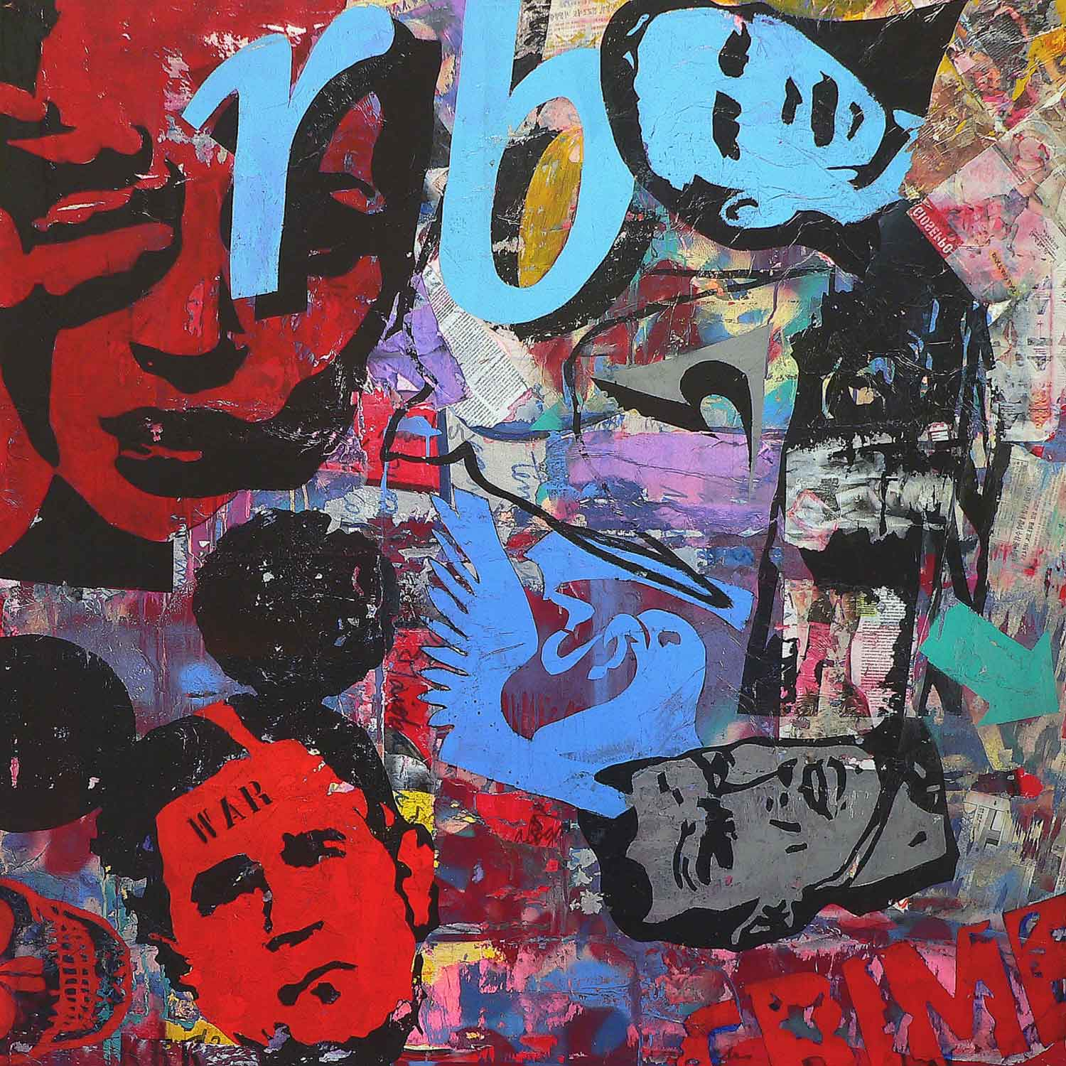 war - 130 x 130 cm - acrylic, spray paint, marker pen and collage on canvas - 2010
