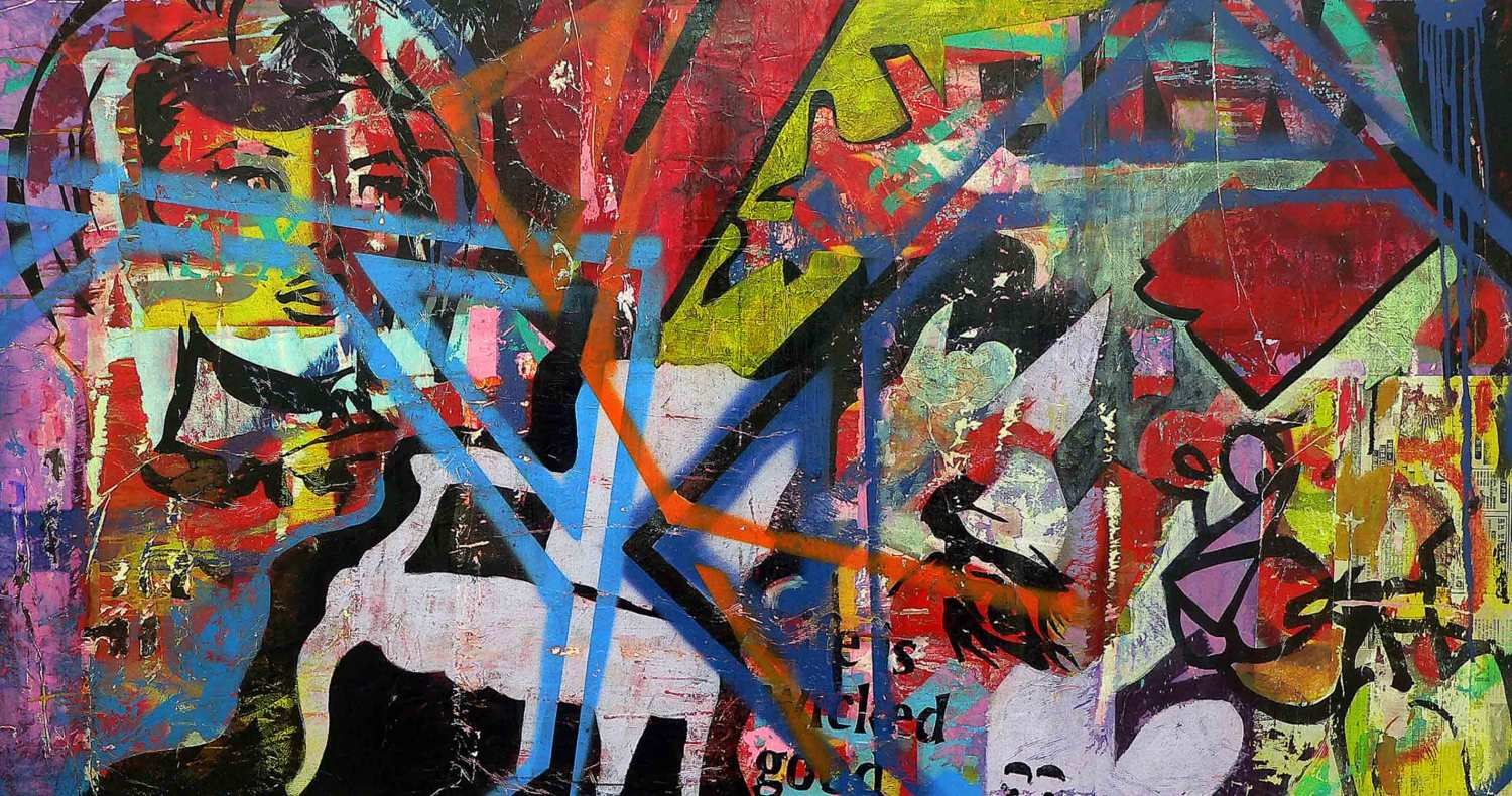 wicked good - 97 x 185 cm - acrylic, spray paint, marker pen and collage on canvas - 2010