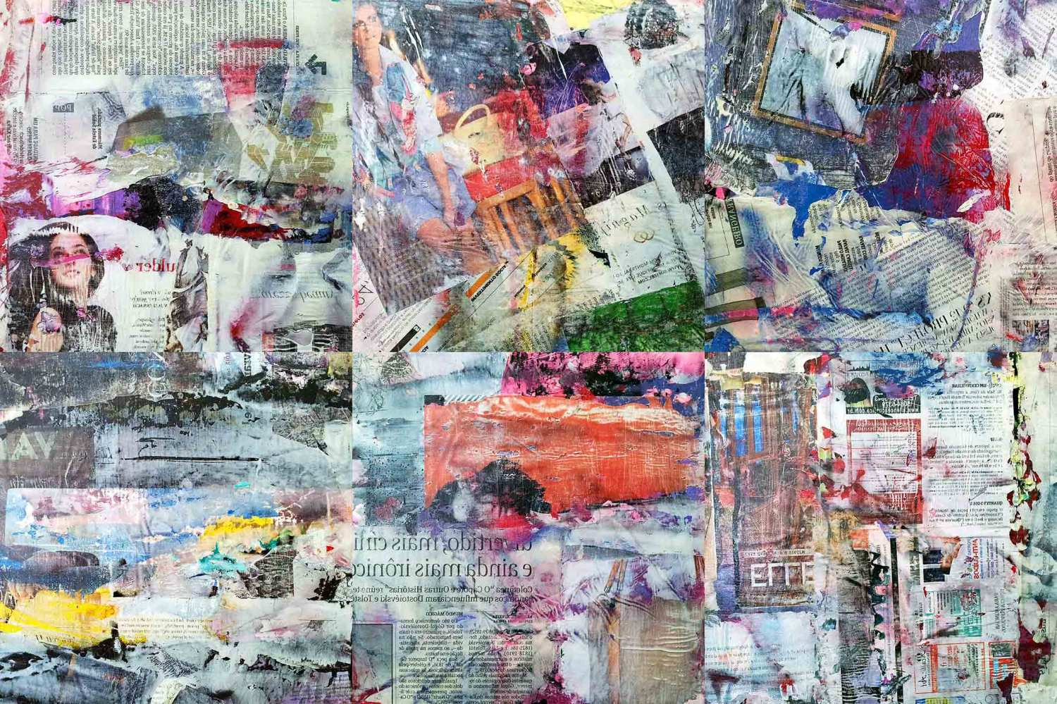 neue wilde (wild youth) – 26 x 26 cm each (6 parts) – acrylic and mixed media collage on canvas mounted on wood boxes – 2012