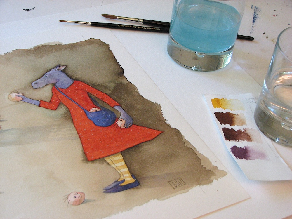 Studio shot--watercolor painting in progress