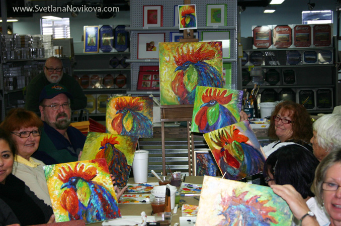 Rooster painting Art Demo at Jerry's Artarama