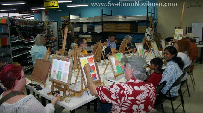 watercolor Art demo at Jerry's Artarama