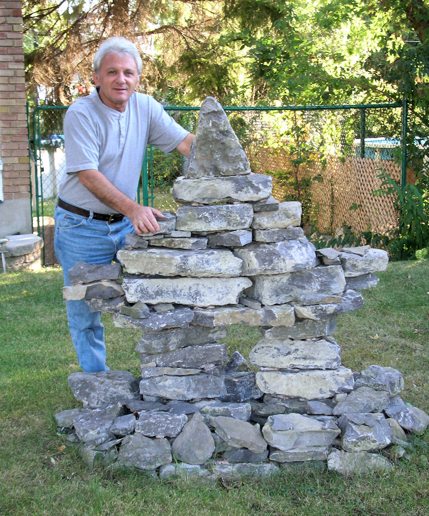 Inukshuk built with garden stones