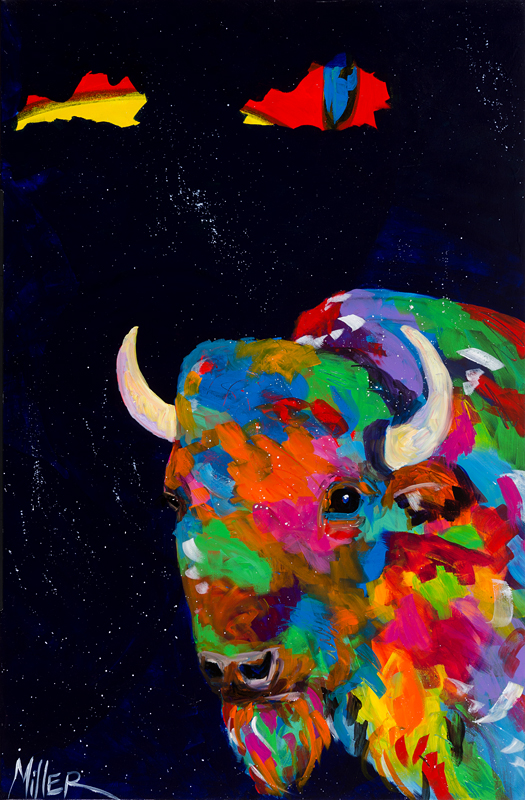 buffalo with midnight sky