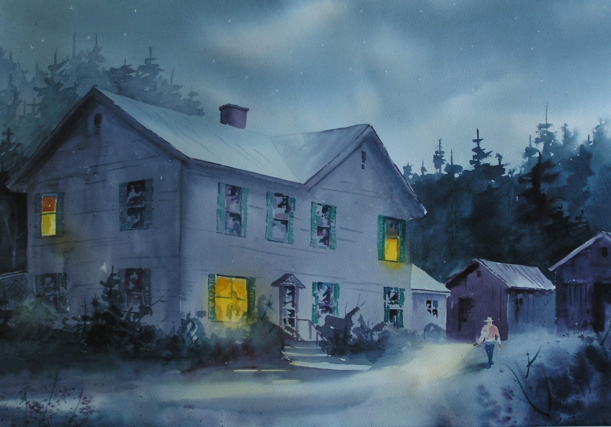 Night scene of a farmhouse