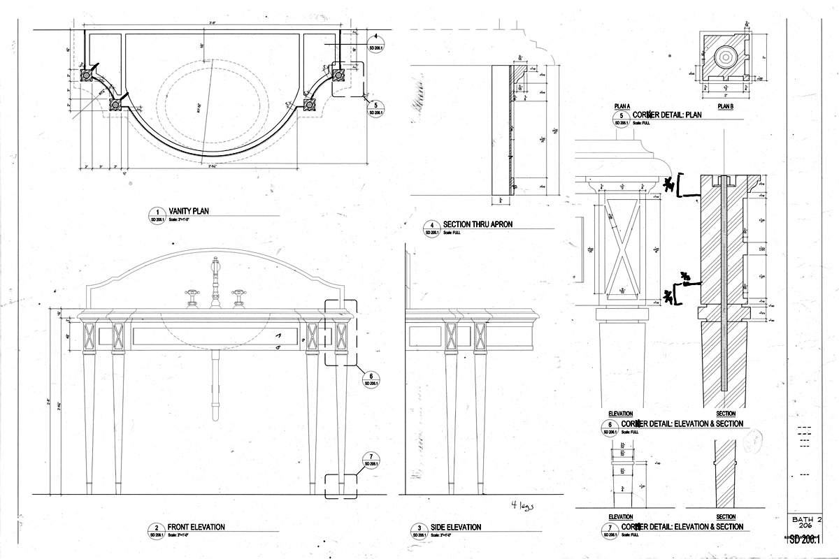 Bronze Vanity Architectural Drawings