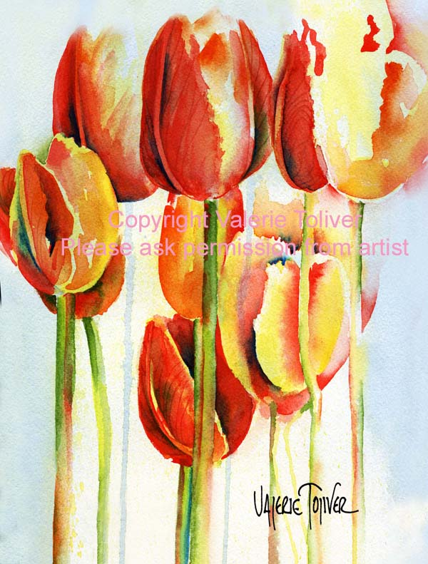 Abstract of Orange Tulips Watercolor Painting by Valerie Toliver