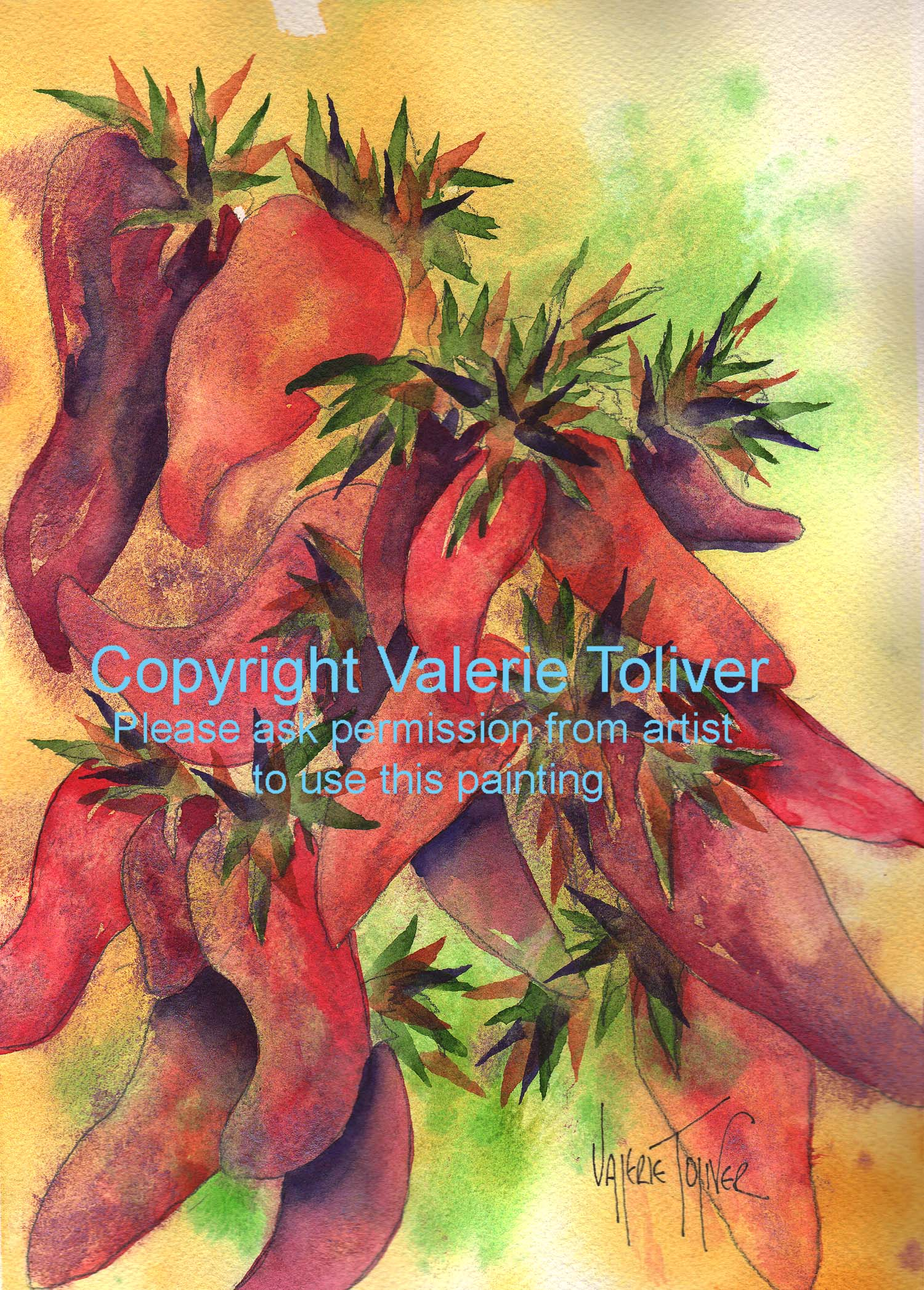 Red Hot Chili Peppers Watercolor Painting by Valerie Toliver