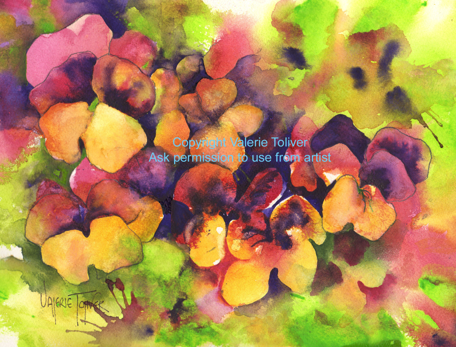 ABSTRACT WATERCOLOR OF PANSIES