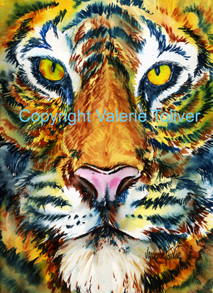 Eyes of the Tiger Watercolor Painting by Valerie Toliver