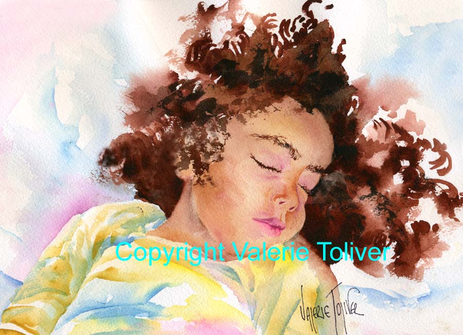 watercolor painting of a sleeping child