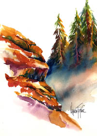High Country Cliffs in Watercolor