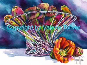Prickly Pears in Glass Watercolor Painting by Valerie Toliver