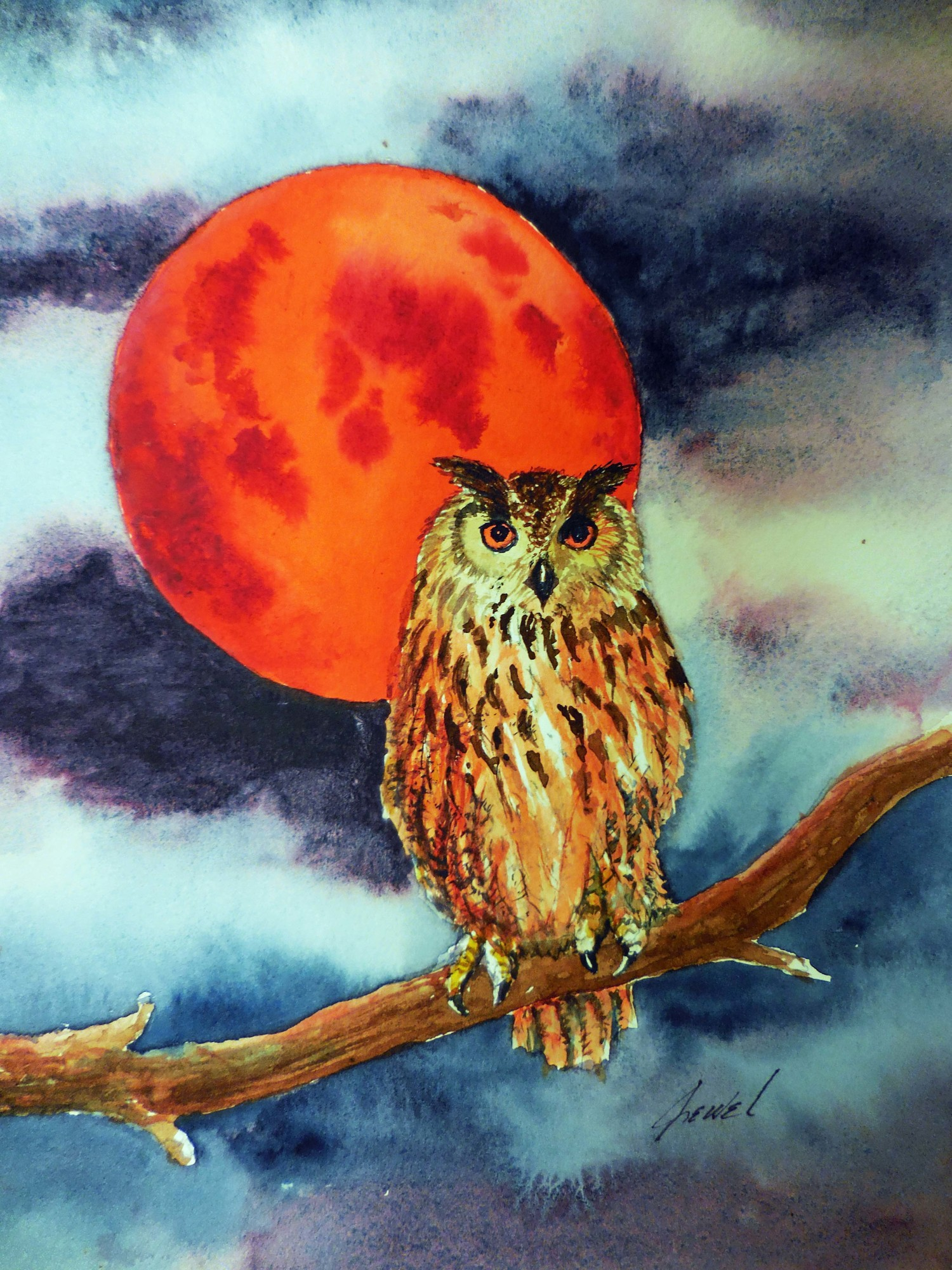 Jewel H. painted this owl and harvest moon