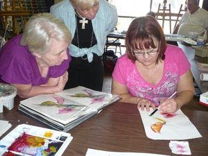Valerie working with students