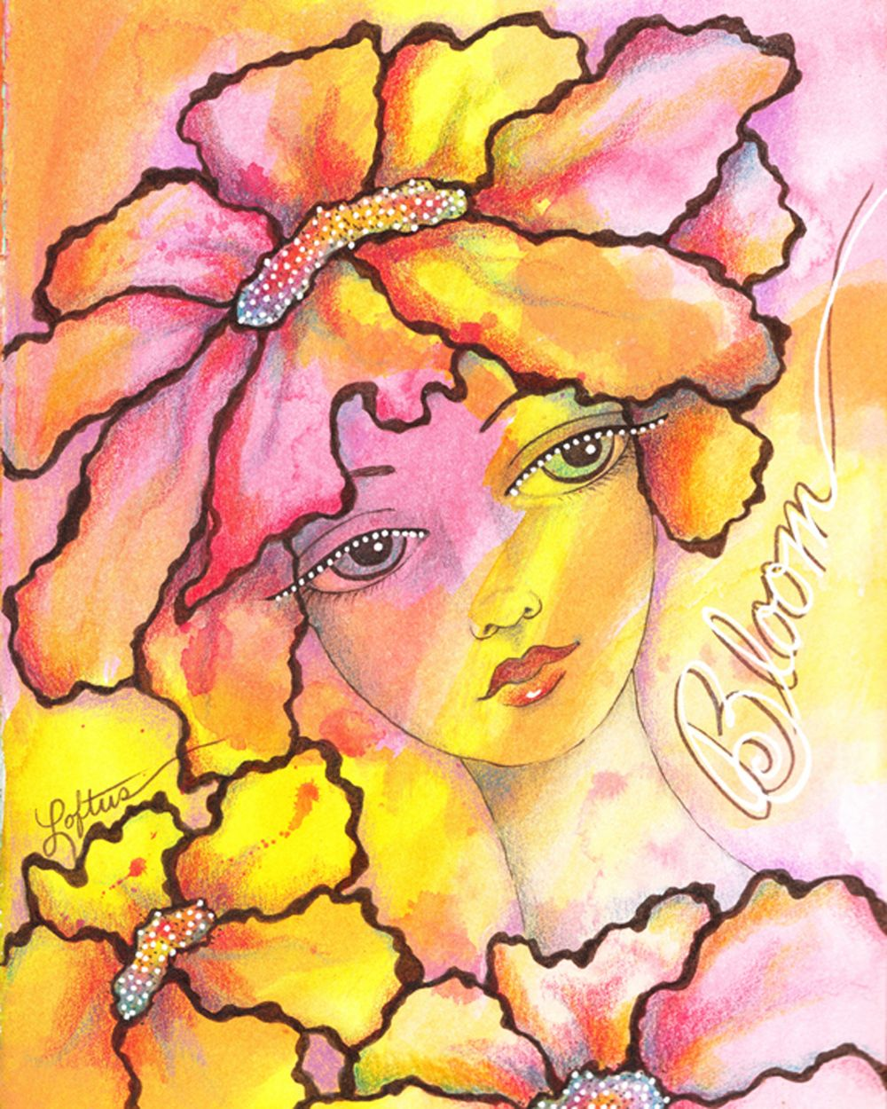 whimsical girl flower mixed media painting illustration by artist joann loftus