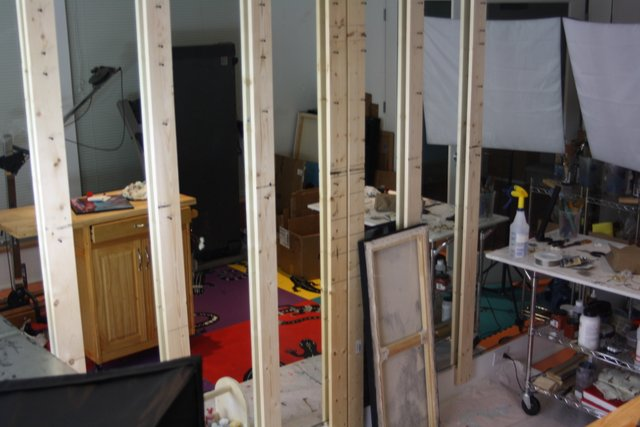 My painting studio mirrored painting wall