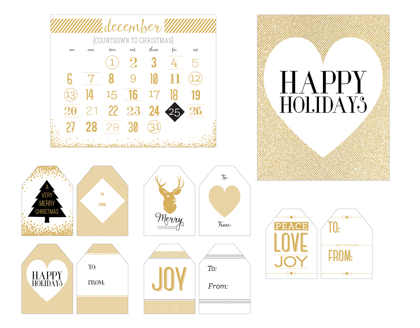 picture relating to Printable Holiday Tags named Printable Vacation Decor Reward Tags versus Artsy Couture