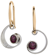 Image of Ed Levin Silver And 14k Gold Ebb Tide Earrings With Garnet View 1