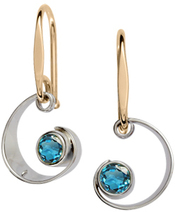 Image of Ed Levin Silver And 14k Gold Ebb Tide Earrings With Blue Topaz View 1