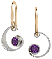 Image of Ed Levin Silver And 14k Gold Ebb Tide Earrings With Amethyst View 1
