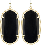 Image of Kendra Scott Danielle Gold Earrings in Black Opaque Glass View 1