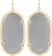 Image of Kendra Scott Danielle Gold Earrings in Slate Cat's Eye View 1