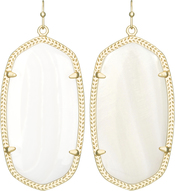 Image of Kendra Scott Danielle Gold Earrings in White Motherof Pearl View 1