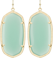 Image of Kendra Scott Danielle Gold Earrings in Chalcedony Translucent Glass View 1