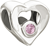 Image of Chamilia Heart Pink CZ Bead View 2
