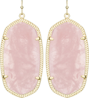 Image of Kendra Scott Danielle Gold Earrings in Rose Quartz View 1