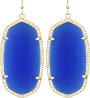 Image of Kendra Scott Danielle Gold Earrings in Cobalt Cat's Eye View 1