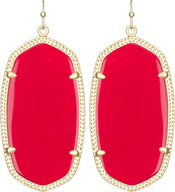 Image of Kendra Scott Danielle Gold Earrings in Bright Red Opaque Glass View 1