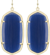 Image of Kendra Scott Danielle Gold Earrings in Navy Cat's Eye View 1