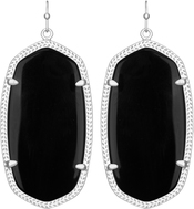 Image of Kendra Scott Danielle Rhodium Earrings in Black Opaque Glass View 1