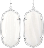 Image of Kendra Scott Danielle Rhodium Earrings in White Mother of Pearl View 1